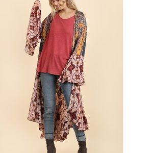 Umgee berry kimono duster new